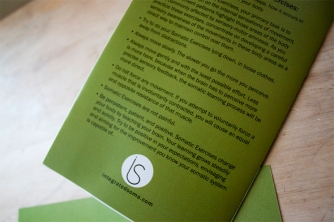 Back of brochure showing the reverse image of the the logo and website placement.