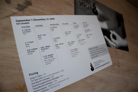 Schedule card.
